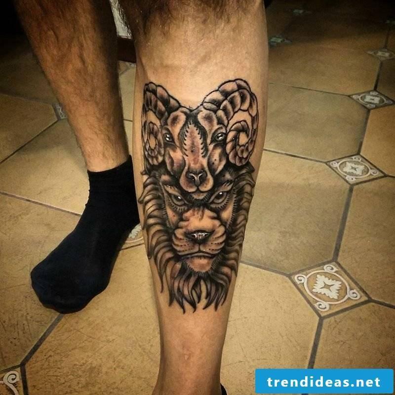 aries tattoo Simple Aries Tattoo on Leg