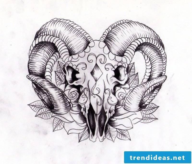 aries tattoo skull