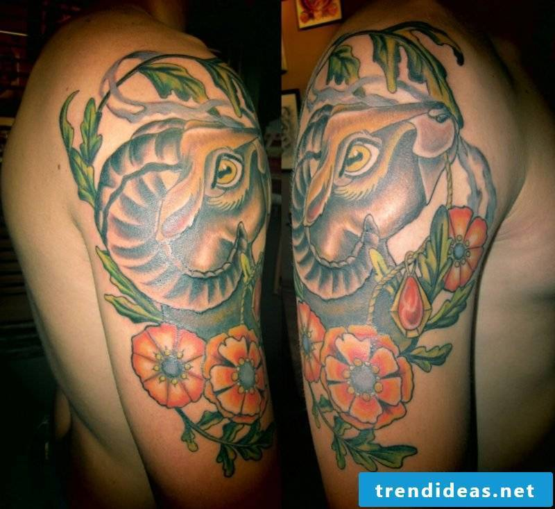 aries tattoo flowers