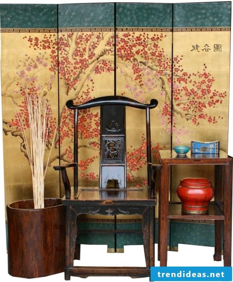 Asian furniture: chair, wooden table and decorative elements!