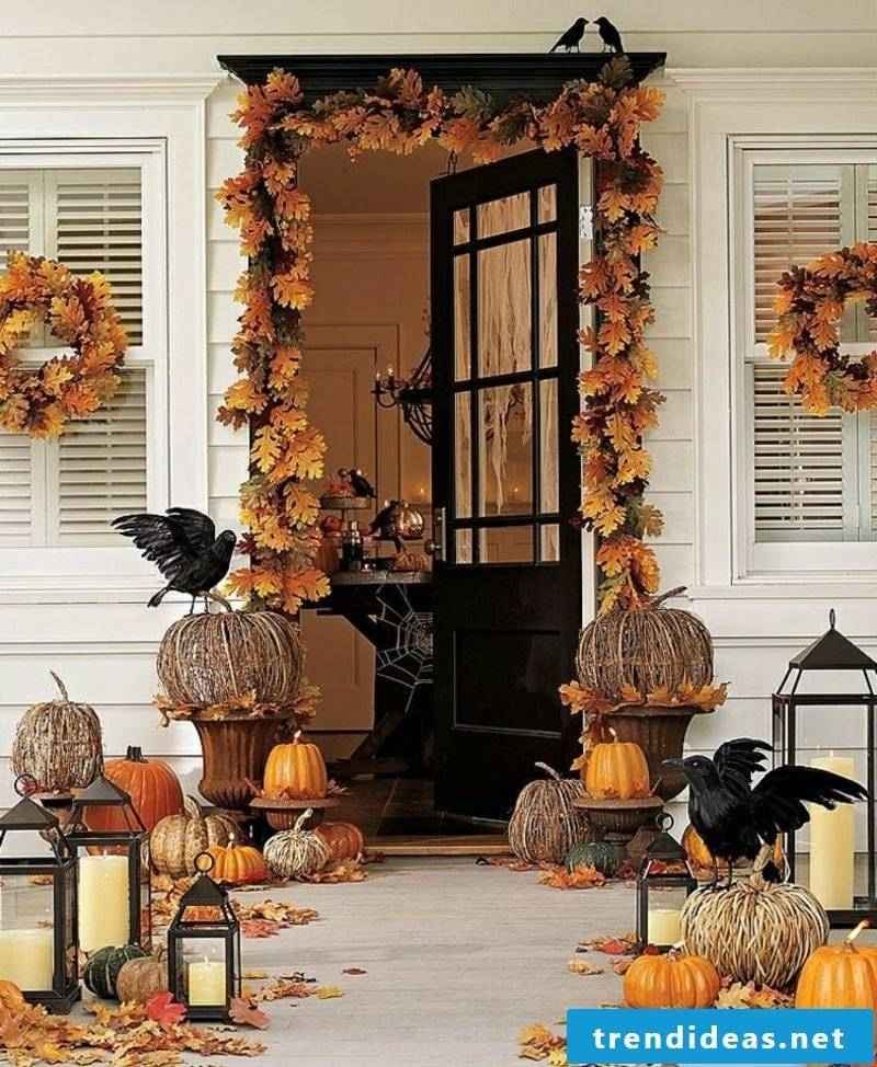 impressive autumn decoration for the entrance craft ideas
