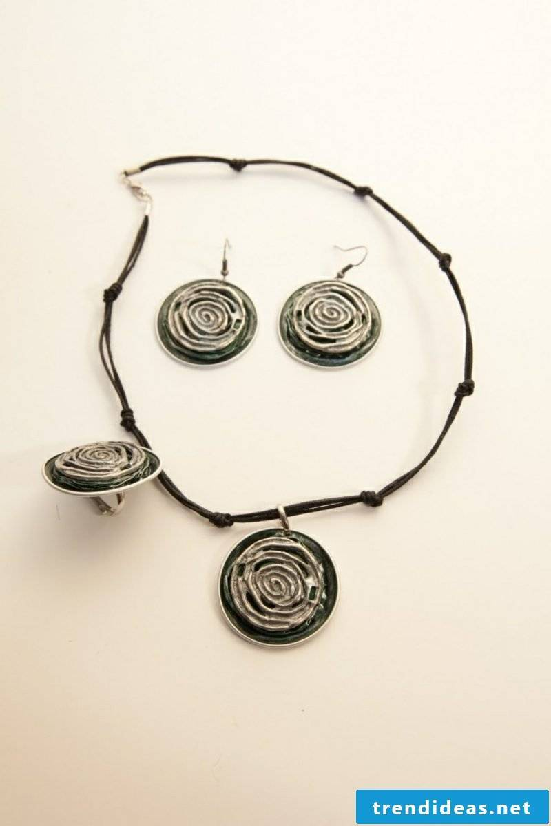 stylish necklace, ring and earrings made from Nespresso capsules