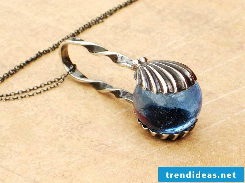 Jewelry made of silver cutlery ice cream spoons