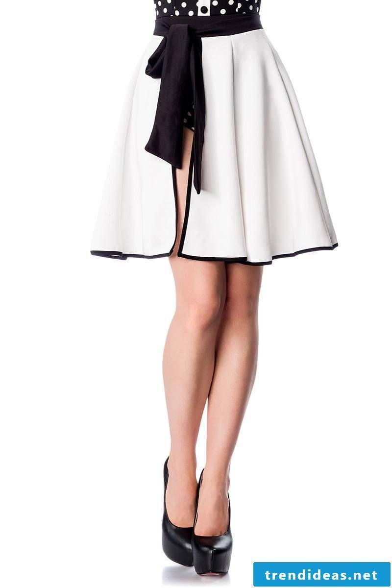 classic wrap skirt white and black