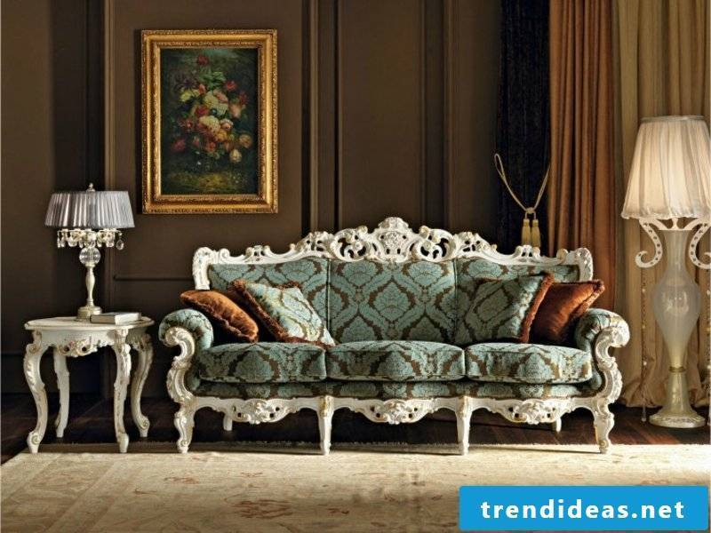 blue sofa in Baroque style