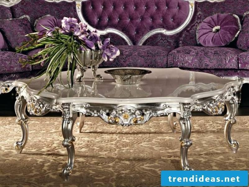 Baroque furniture accents in purple
