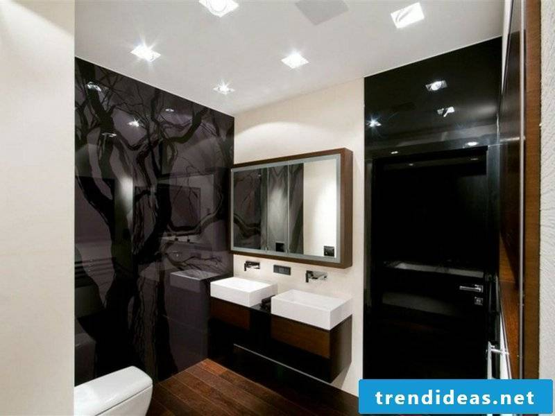 designer black glass in the bathroom