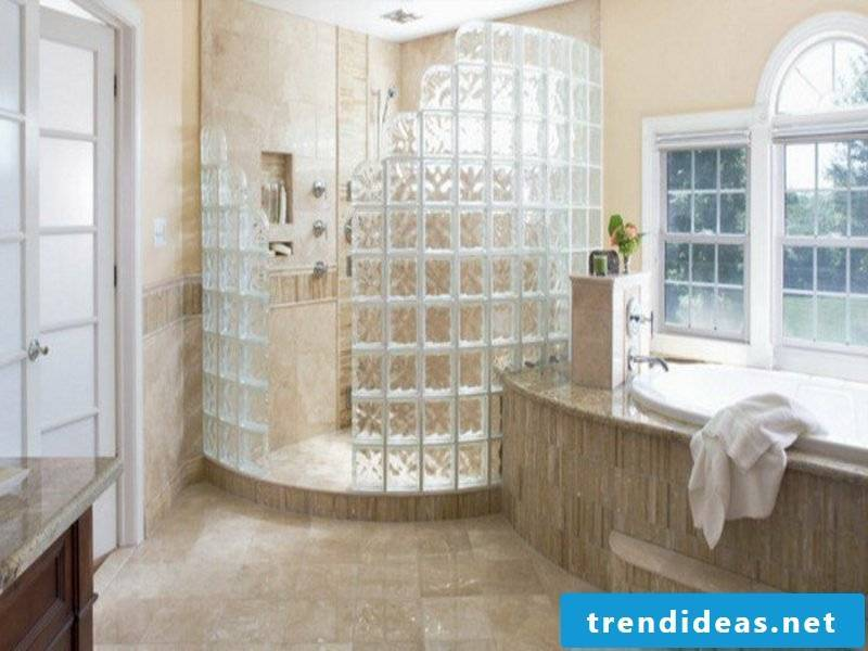 Lots of glass in the bathroom design