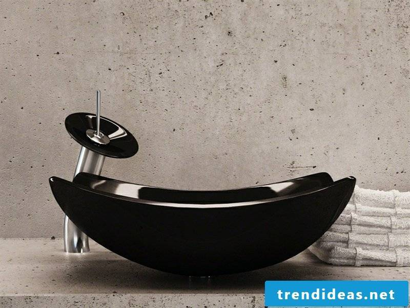 Black glass basin in the bathroom design