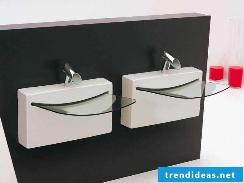 small glass sink for two