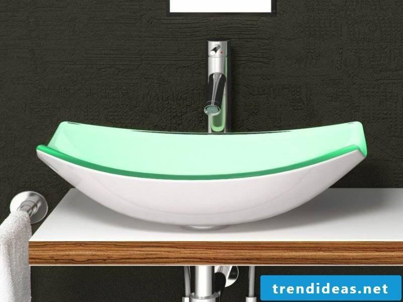 elegant glass washbasin in the bathroom design