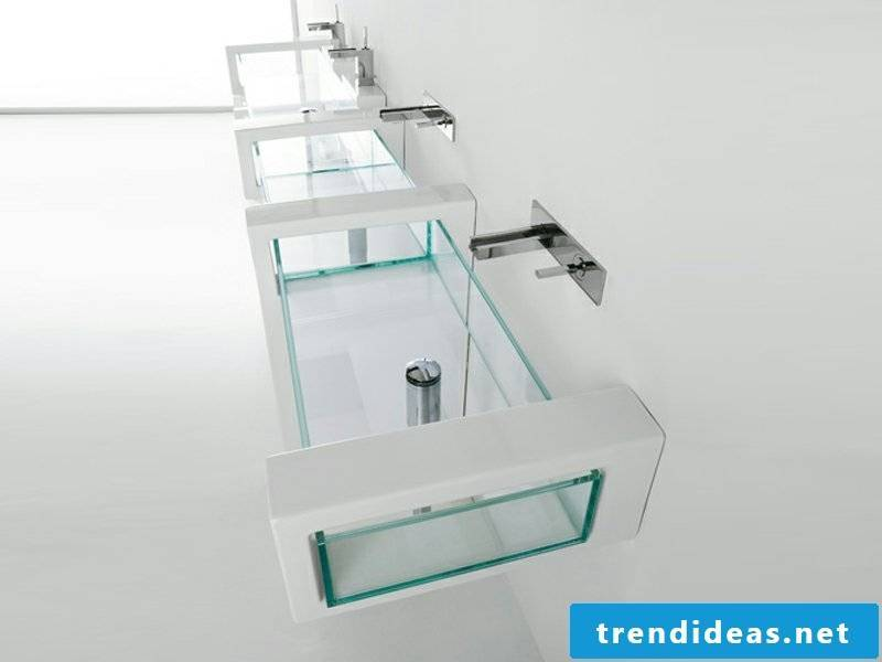 beautiful glass washbasins in the bathroom design