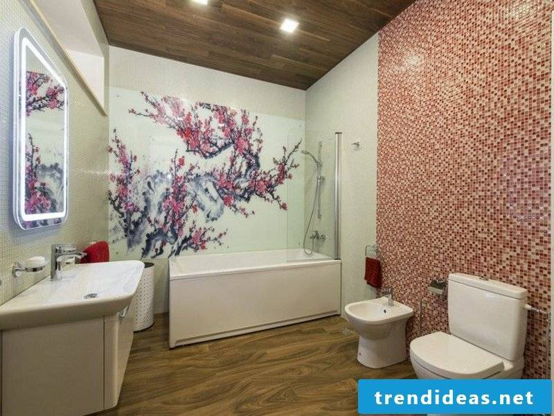 Bathroom design in pink color