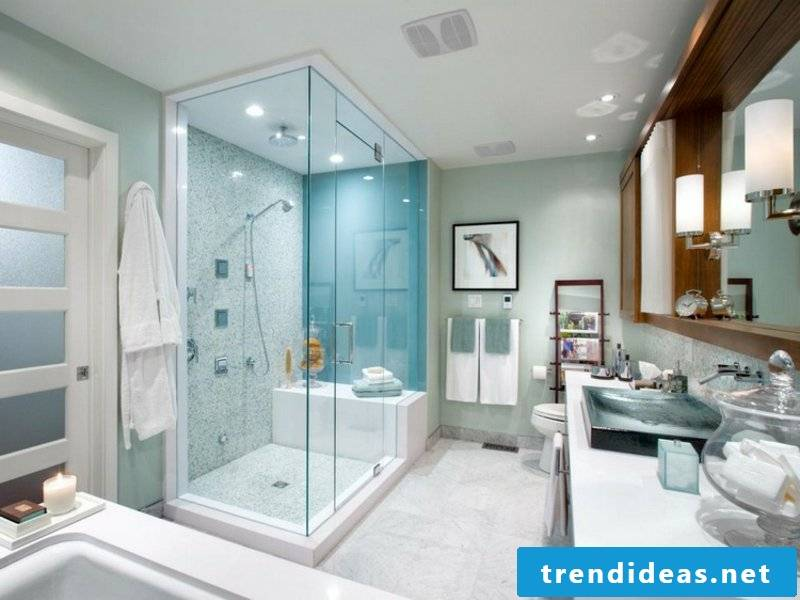 Pastel colors in the bathroom design with glass