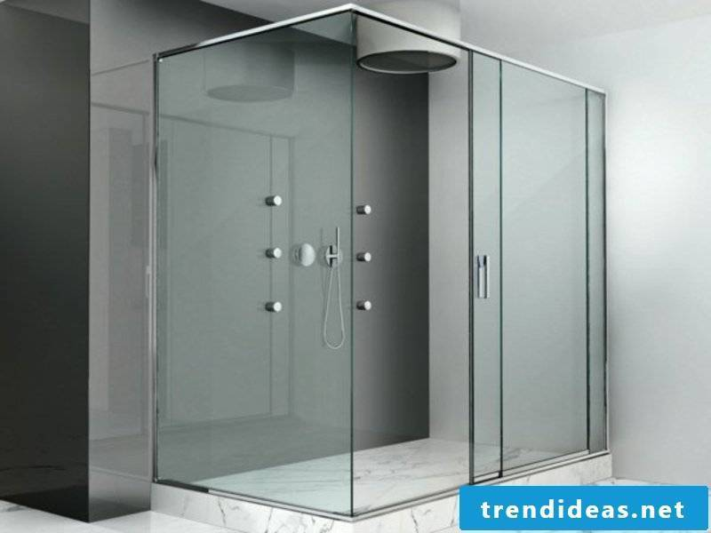 shower with glass cabin