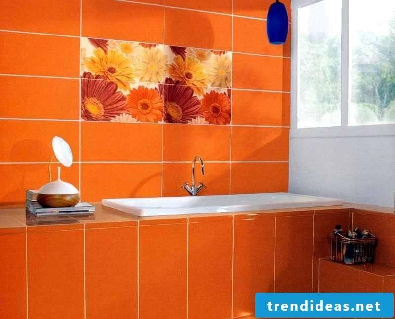 tile sticker for bath orange
