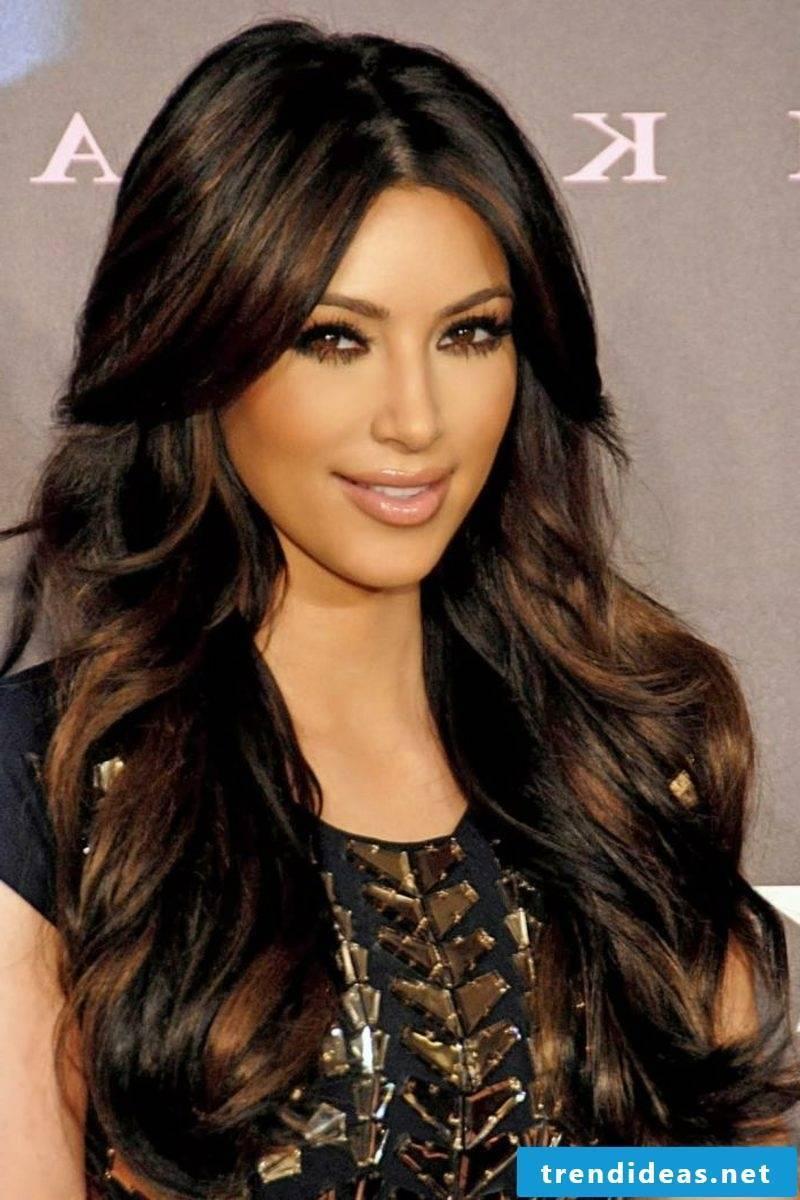 brunette hair long nuance golden brown Kim Kardashian