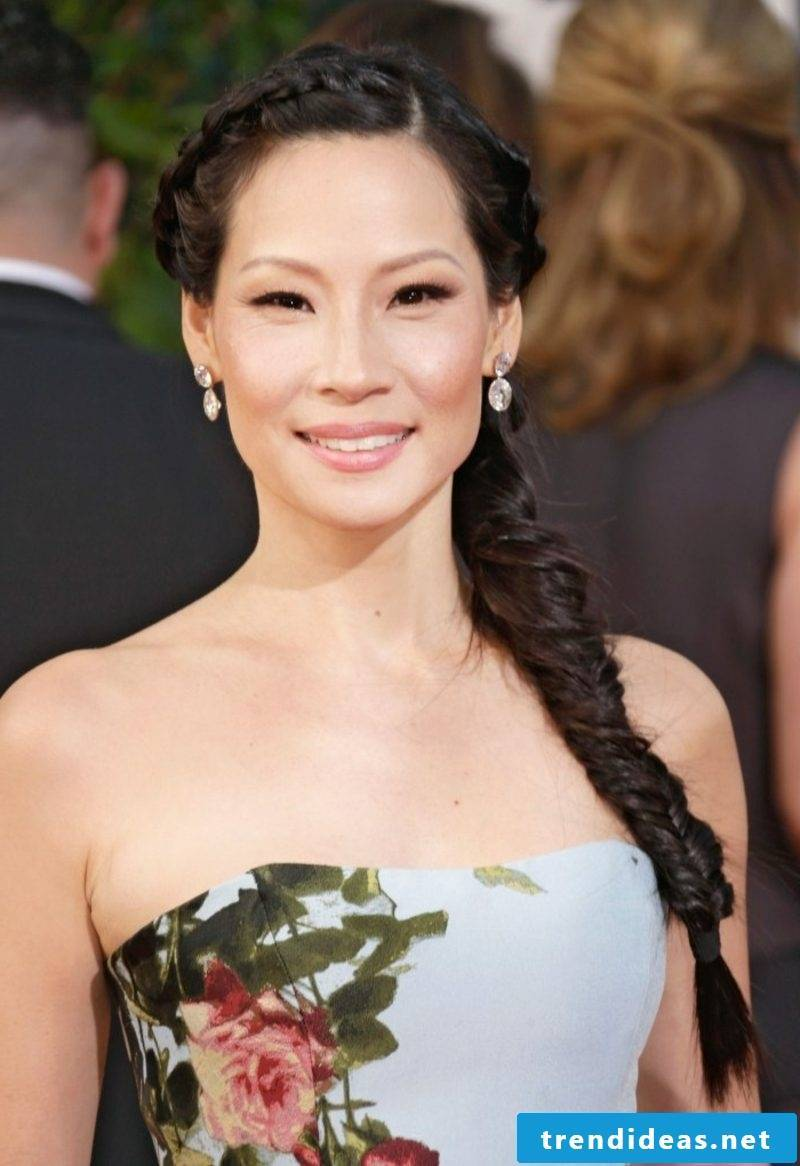 dark brown hair Lucy Liu braid over one shoulder