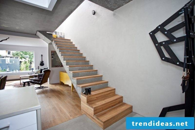 Concrete staircase combination of wood and concrete
