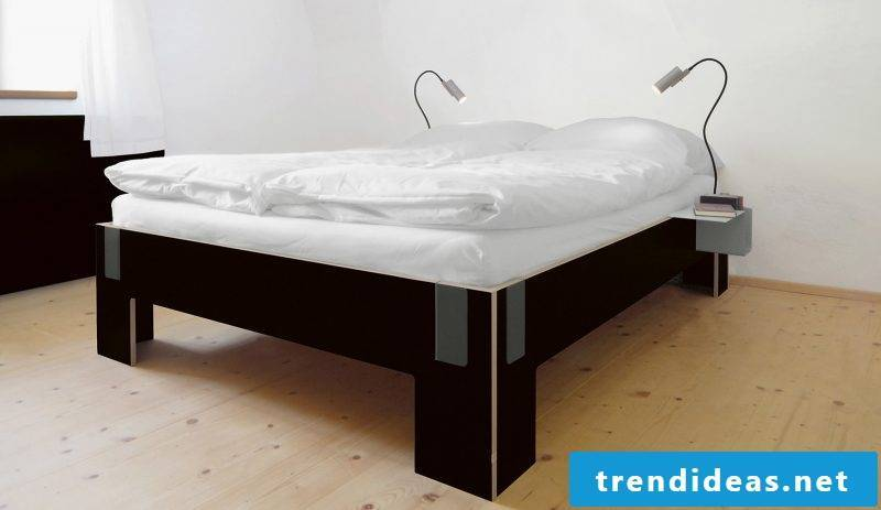 Bed without headboard inspired by minimalism