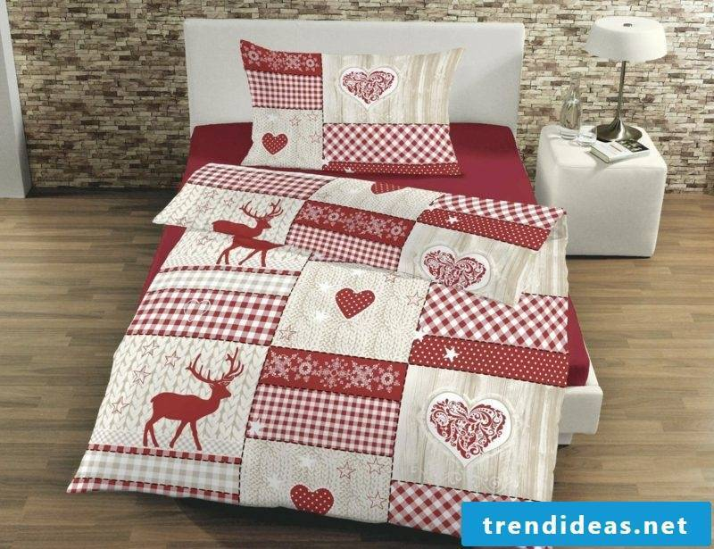 original linen for Christmas red and white snowflakes, hearts, reindeer