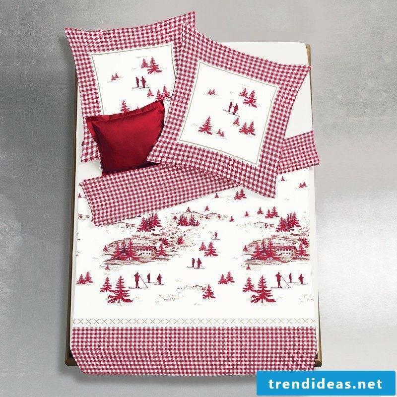 Bedding at Christmas winter landscape