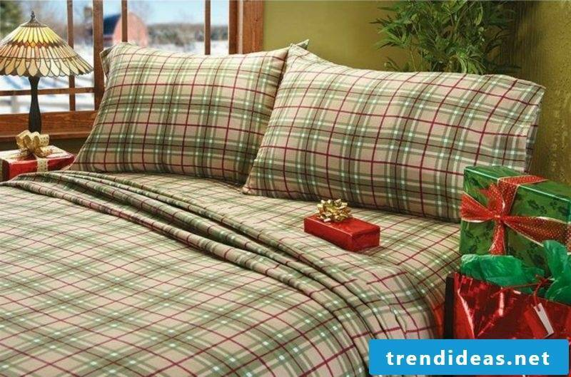 Checked cotton bed linen at Christmas