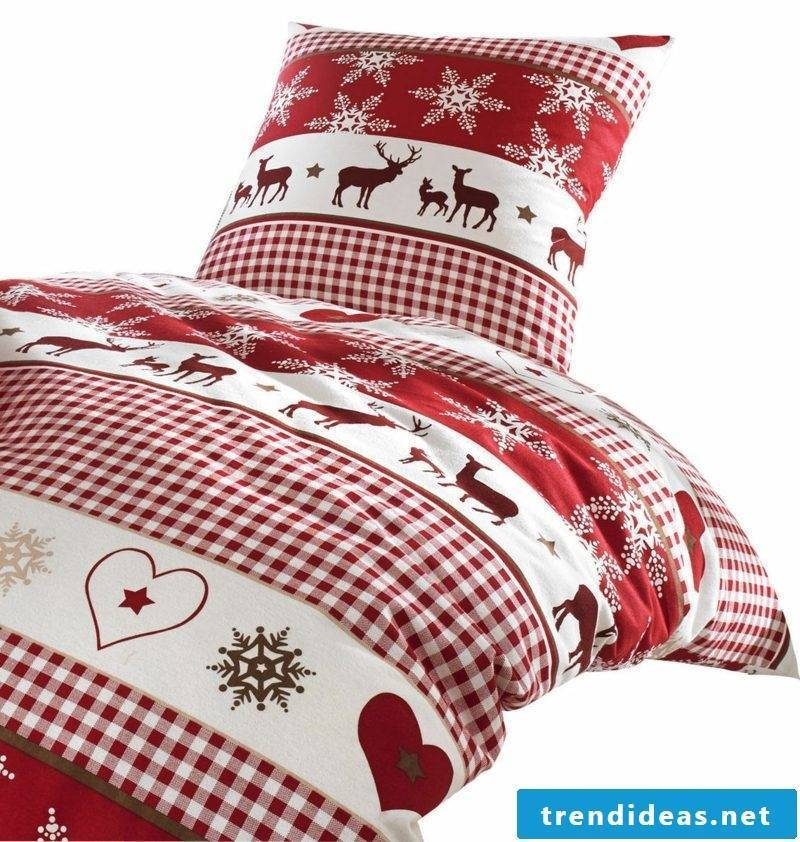 interesting bedding for Christmas traditional motifs red and white