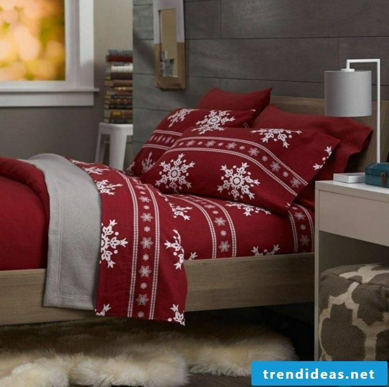 Christmas bedding in red with white snowflakes