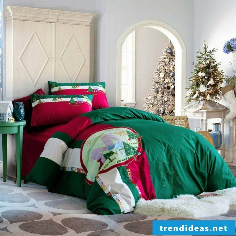 Linens for Christmas typical Christmas colors and motifs