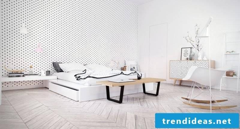 bedroom ideas bedroom design white bed armchair wall design lamp