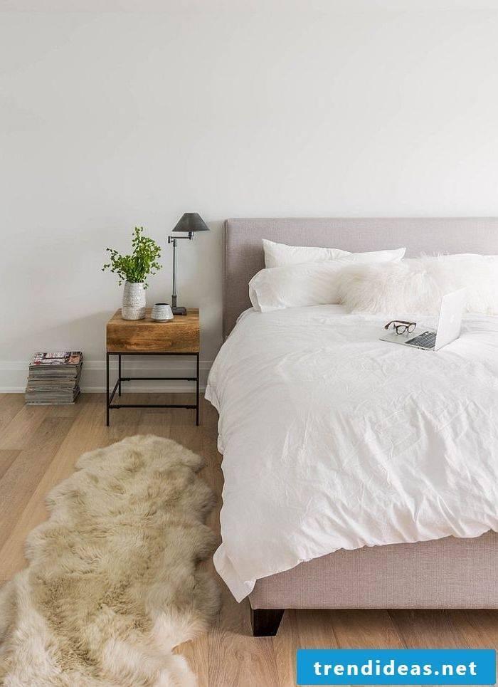 bedroom decorating ideas bed pillow bedside carpet