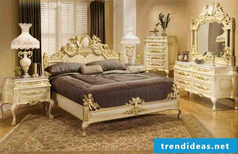 Bedroom furnishings Baroque style sumptuous ambience