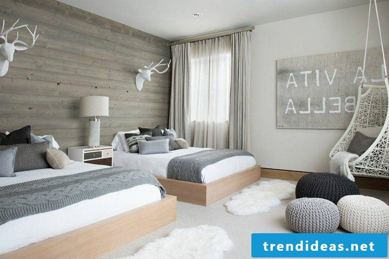 Bedroom furnished Scandinavian style two beds
