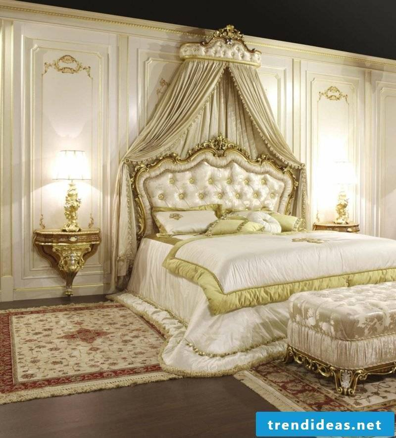 Bedroom set up Baroque style
