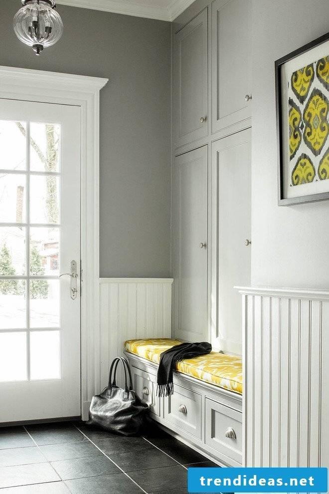 Bench corridor white and yellow