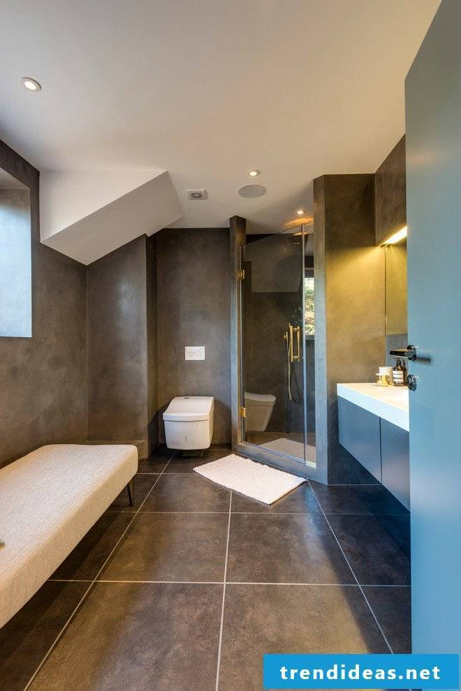 Concrete Cire tiles in the bathroom
