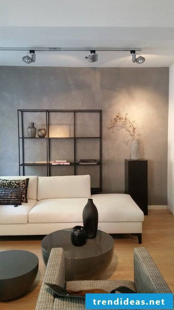 Concrete look in the living room - the modern concrete Cire wall design