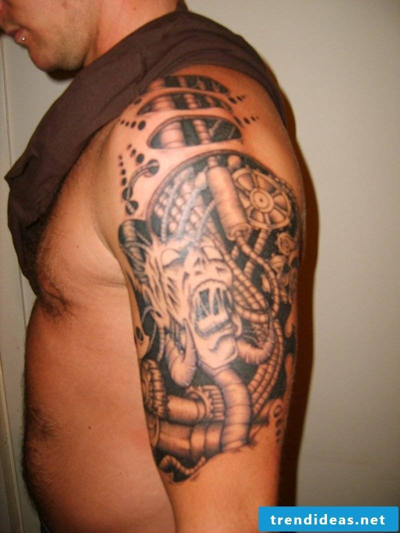 biomechanical arm tattoo biomechanical tattoos biomechanics tattoo calf mechanical tattoos