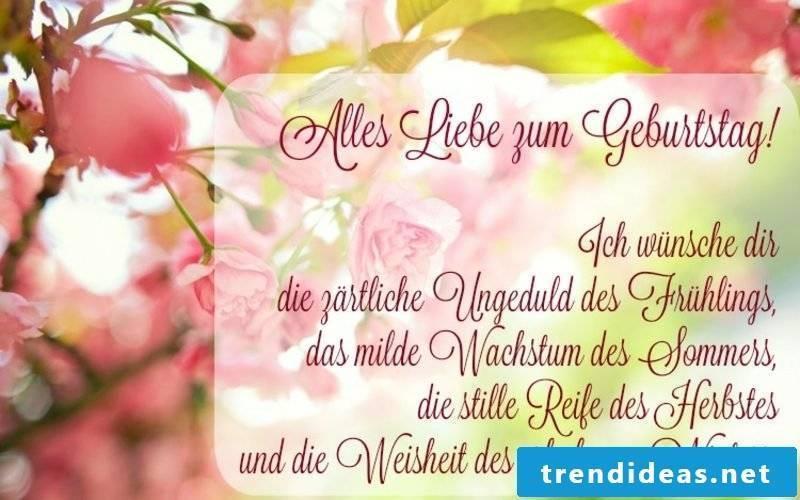 Birthday greetings English and German