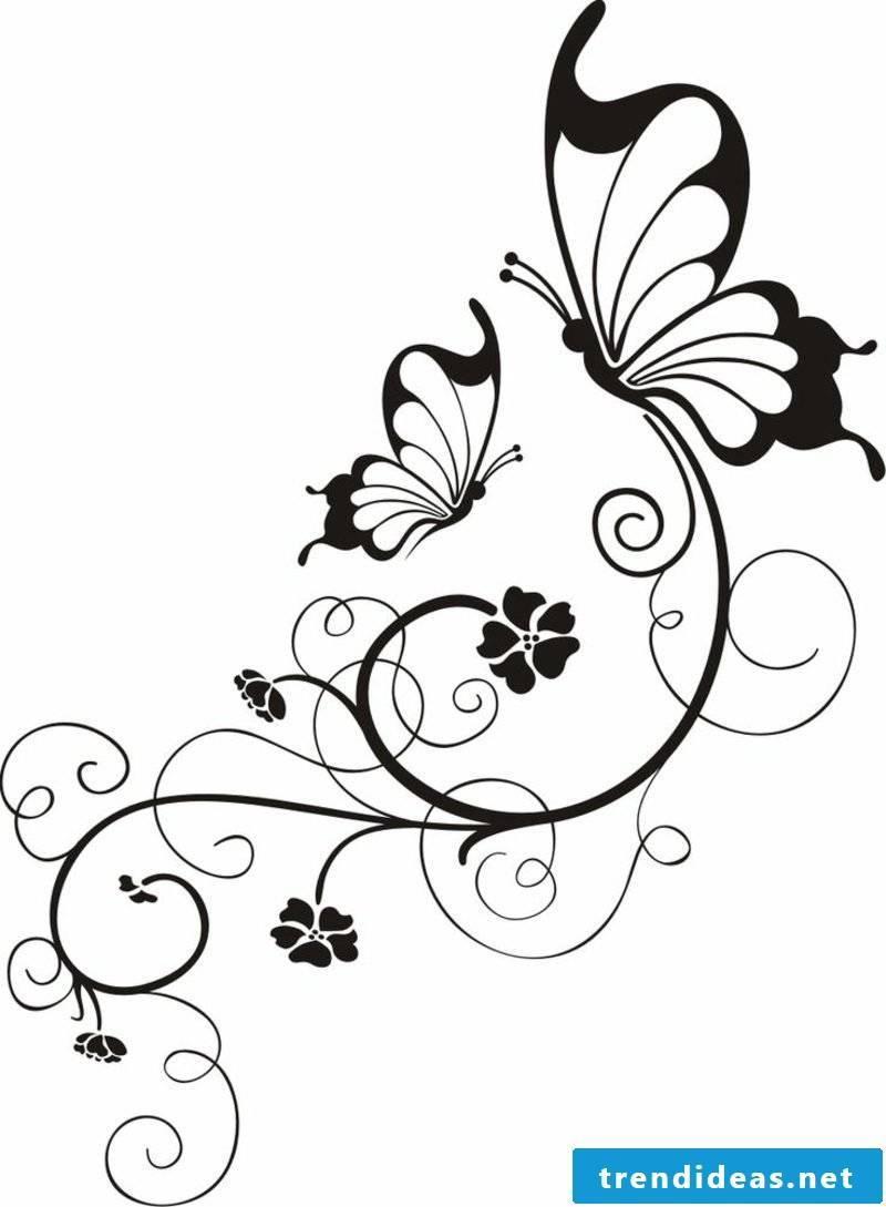 Flower tendril tattoo template two butterflies stylized flowers