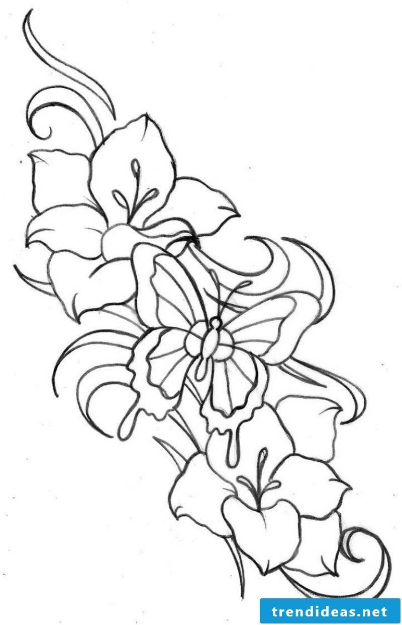Flower tendril tattoo interesting template flowers and butterfly