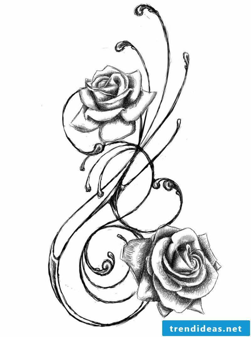Flower tendril tattoo template roses stylized gorgeous look