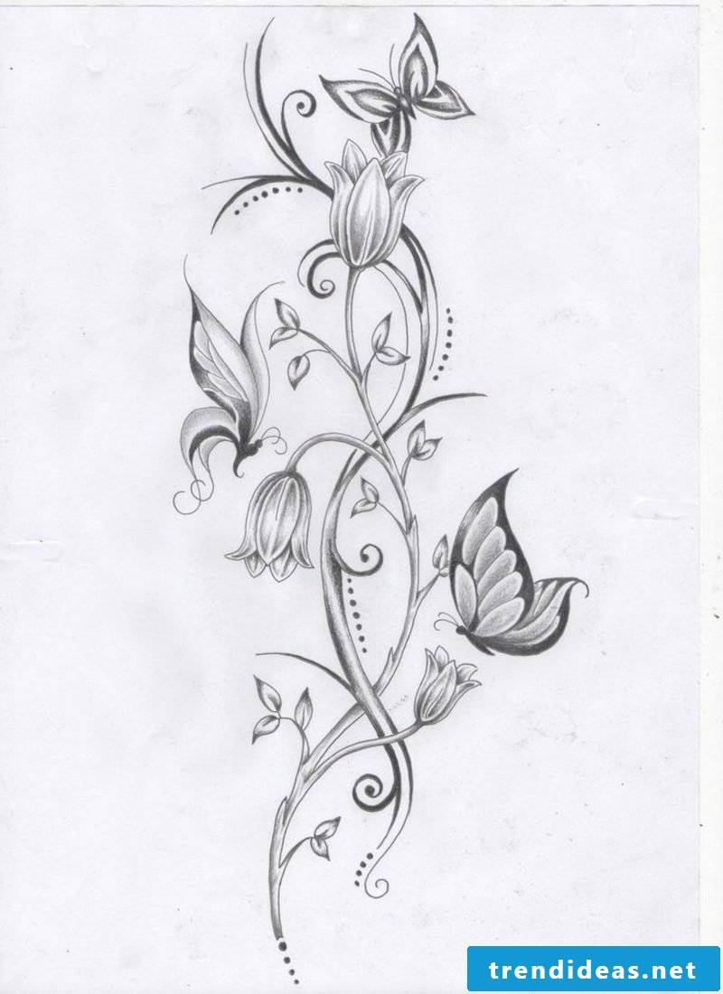 lumen tattoo template flowers and stylized butterflies
