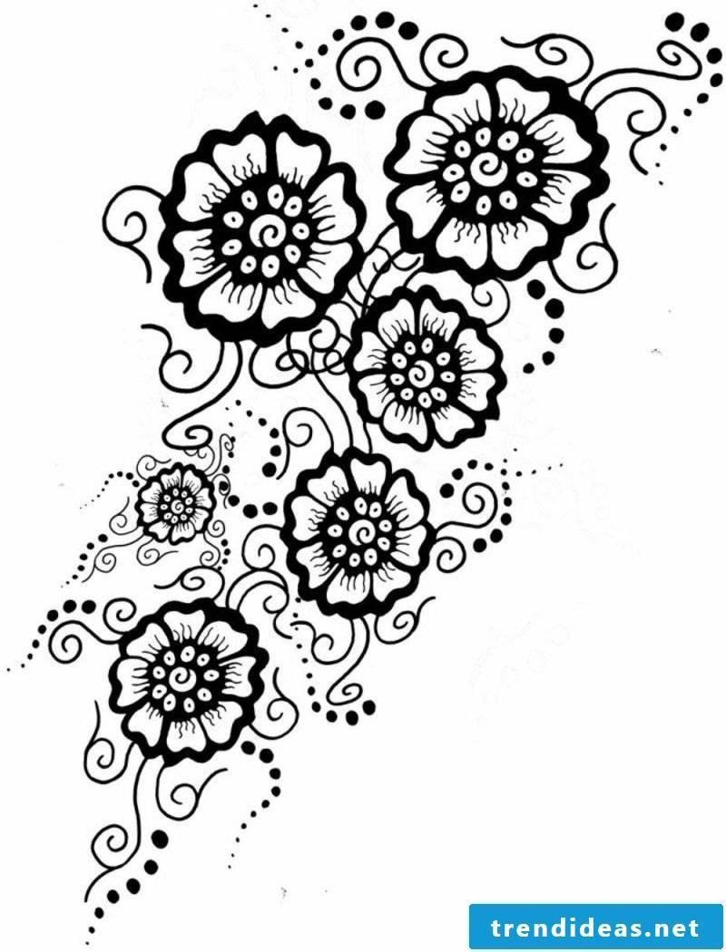 Flower tendril tattoo original template women
