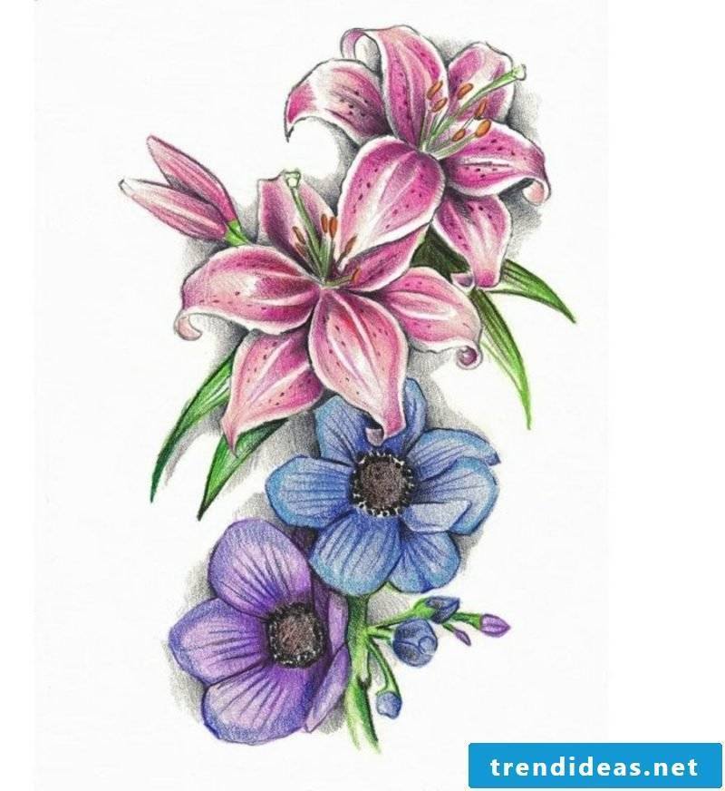 Floral tendril tattoo colored template women