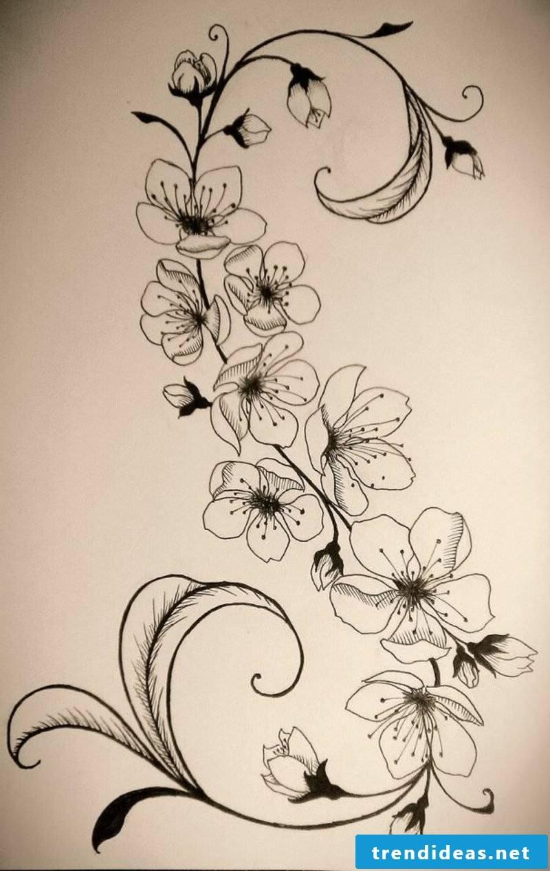 Tattoovorlage Blumenranken interesting look