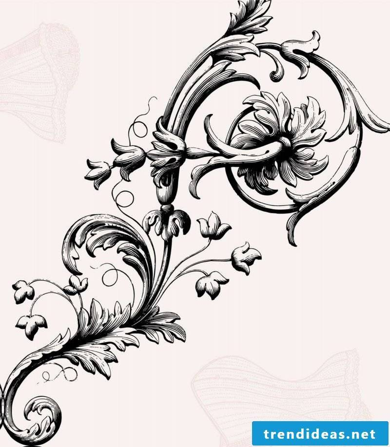Floral tendril tattoo template stylized