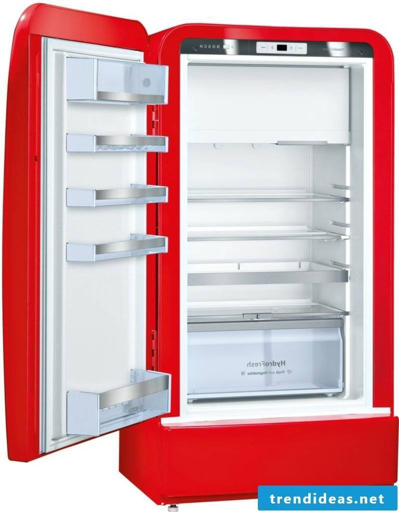 Bosch retro refrigerator red modern interior