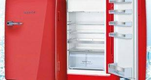 Bosch Retro refrigerator as an accent in the kitchen: 20 ideas